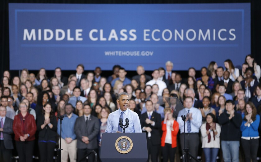 """But who are you calling """"middle class""""? President Barack Obama promoting his middle class economic agenda at the University of Kansas in January."""