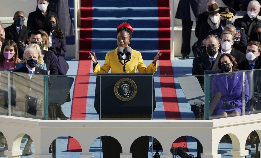 Amanda Gorman recites her inaugural poem during the Jan. 20 inauguration.