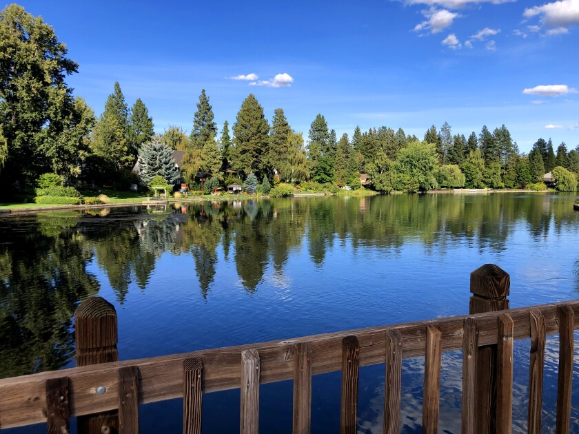 A bike and foot path over Mirror Pond/Deschutes River going to Drake Park and downtown Bend, Ore.