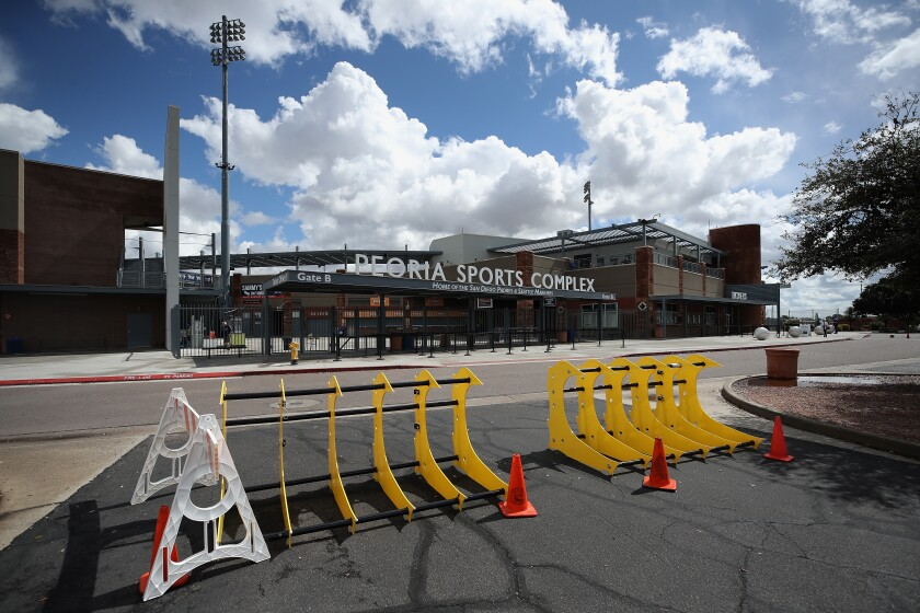Spring training is scheduled to start next week at sites like Peoria Sports Complex in Arizona.