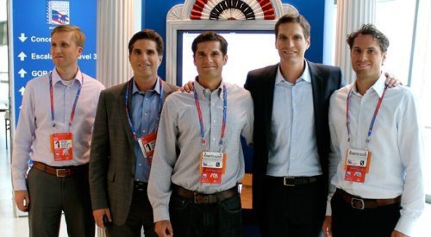 GOP presidential candidate Mitt Romney's sons Ben, Tagg, Matt, Josh and Craig at the recent Republican National Convention. They are in front of the kiosk where they signed the Declaration of Independence. Photo courtesy of Richard Rovsek