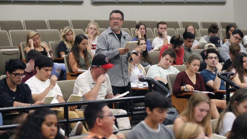 Overall for the year, education and health services had the most new hires with 6,900 positions. Pictured: Professor William Nericcio at San Diego State University on September 4, 2018.