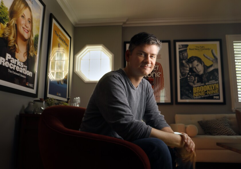 """Michael Schur, photographed at his office on the NBCUniversal lot, is the creator and showrunner of NBC's """"The Good Place."""""""