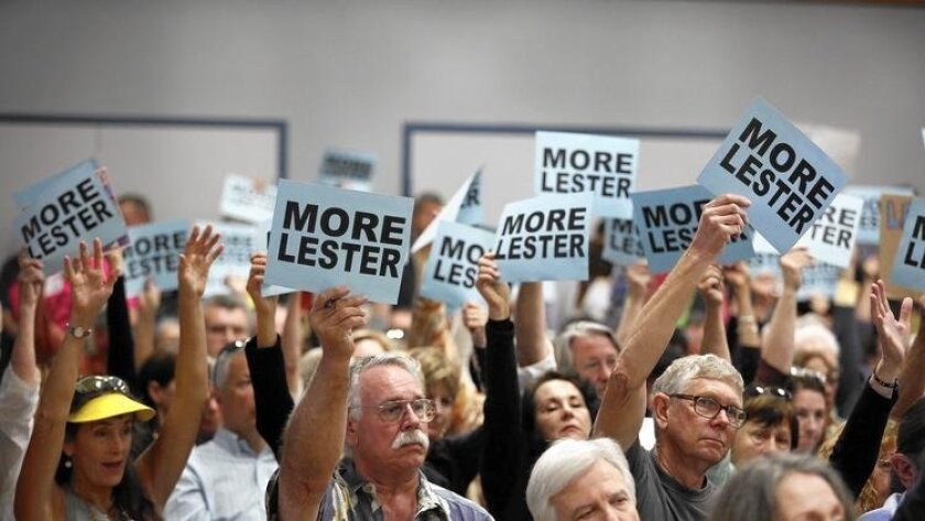 Supporters of Charles Lester, the California Coastal Commission's executive director, fill an auditorium in Morro Bay where commissioners discussed whether to fire him.