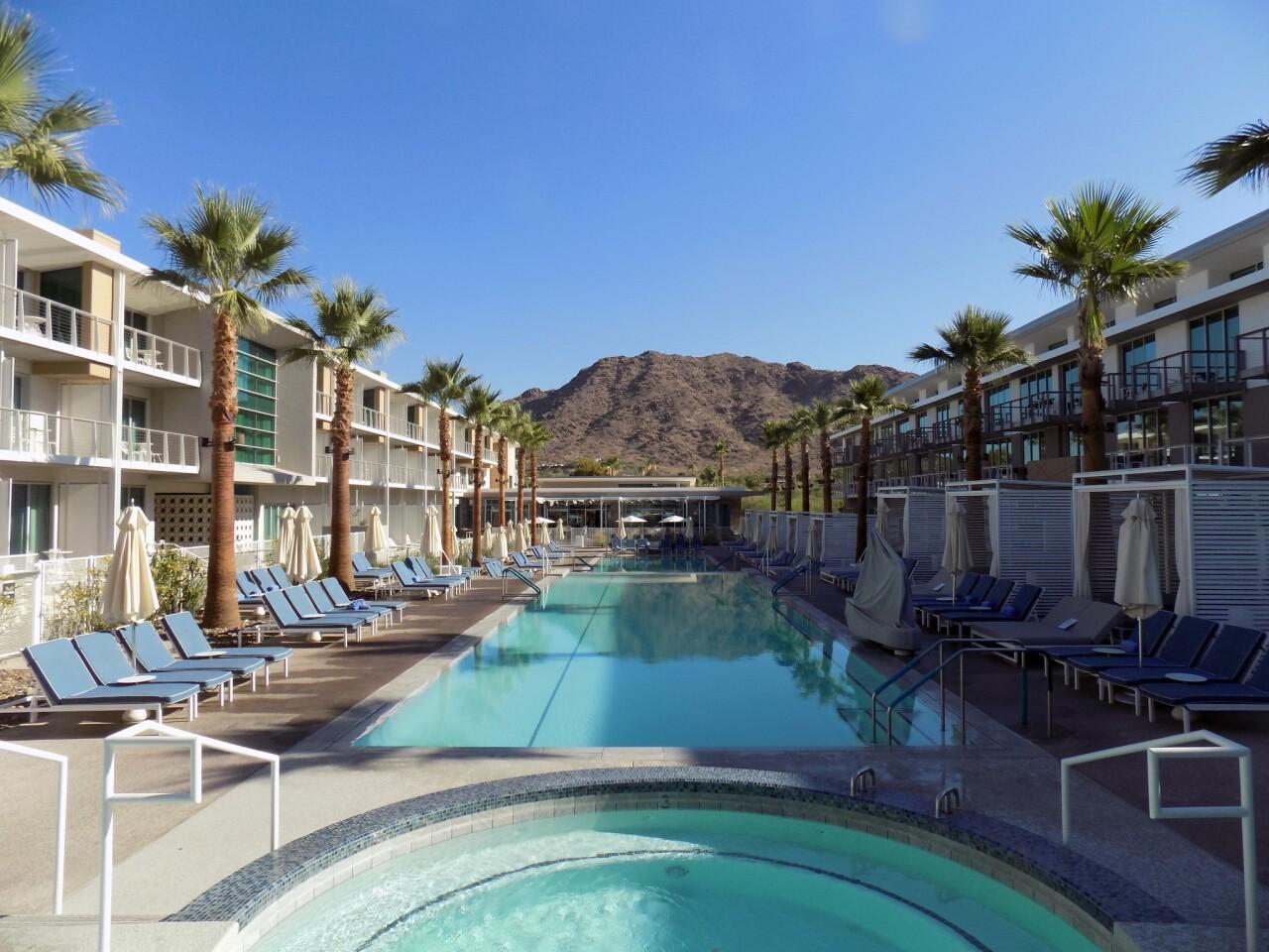 The pool at Mountain Shadows resort has a stunning backdrop.