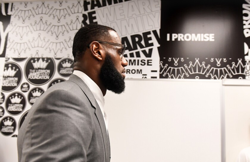 AKRON, OHIO JULY 29TH 2018-LeBron James prepares for a press conference in a classroom at the I PROM