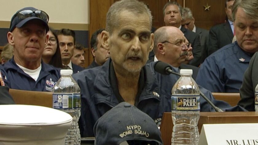 This still image taken from video shows Retired NYPD Detective and 9/11 Responder, Luis Alvarez spea