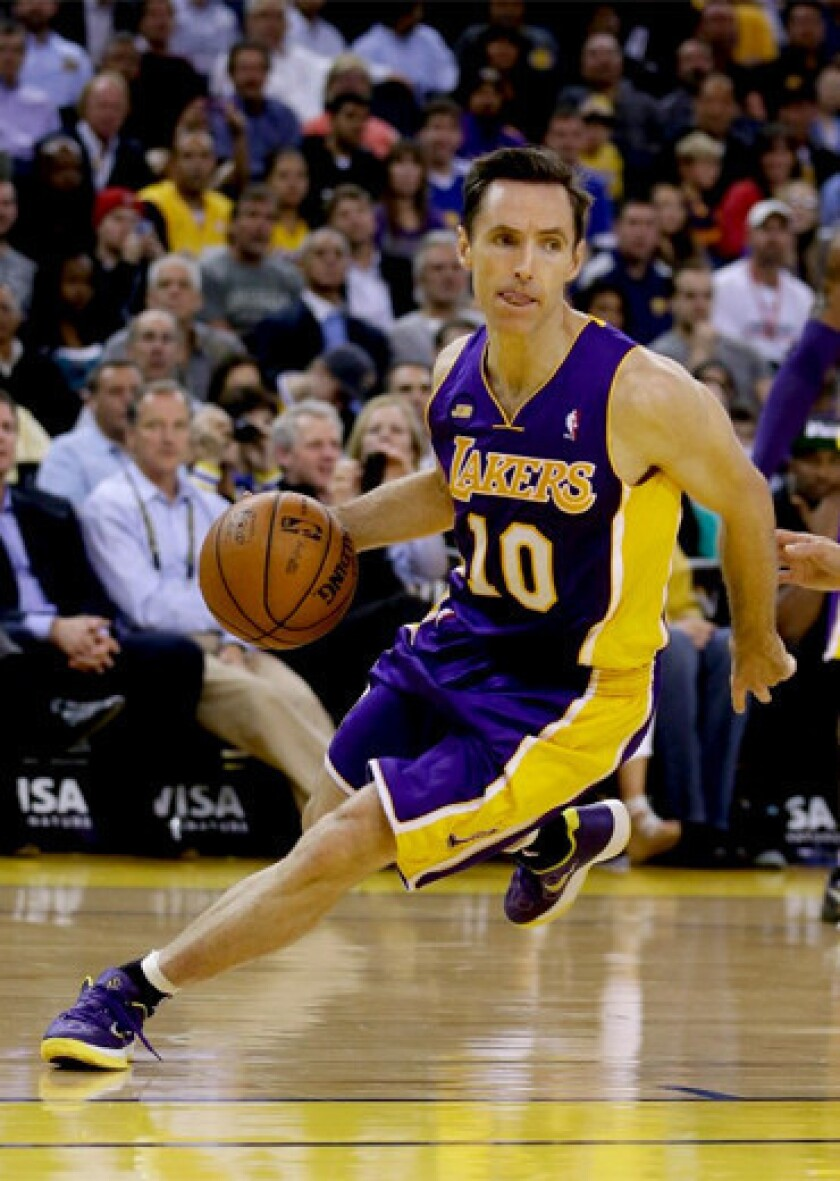 Lakers point guard Steve Nash averaged 12.7 points and 6.7 assists in 50 games this season.