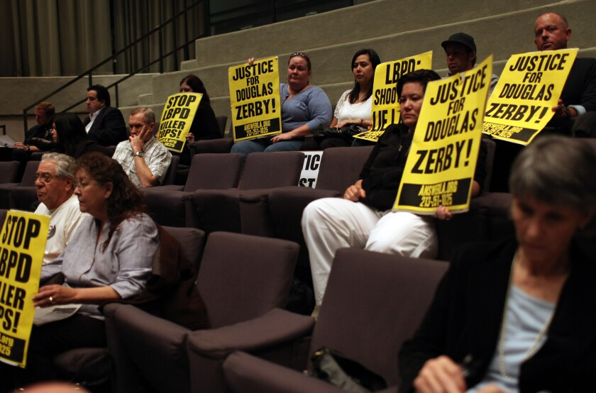 Supporters of Douglas Zerby at a 2011 Long Beach City Council meeting. Zerby was fatally shot by Long Beach police officers. The California Supreme Court ruled Thursday that police agencies generally must release the names of officers involved in shootings.