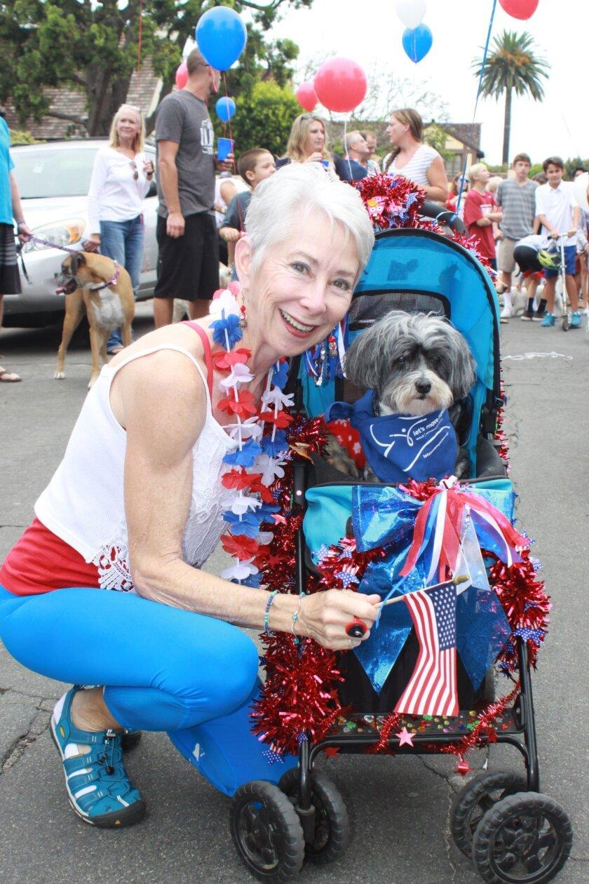 Linda Balducci with her patriotic pup, Queen Lily