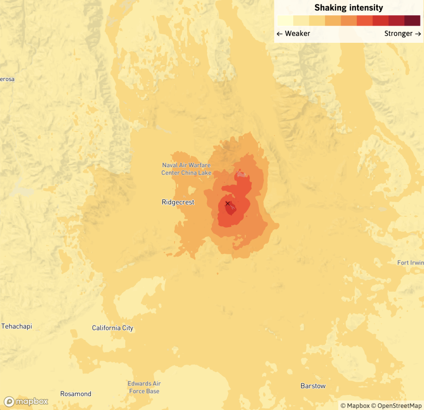 A map of the shaking intensity from the earthquake