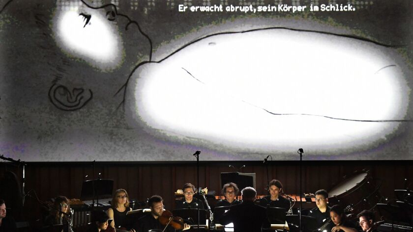 An animated film by Belgian artist Hans Op de Beeck during the Monday concert.