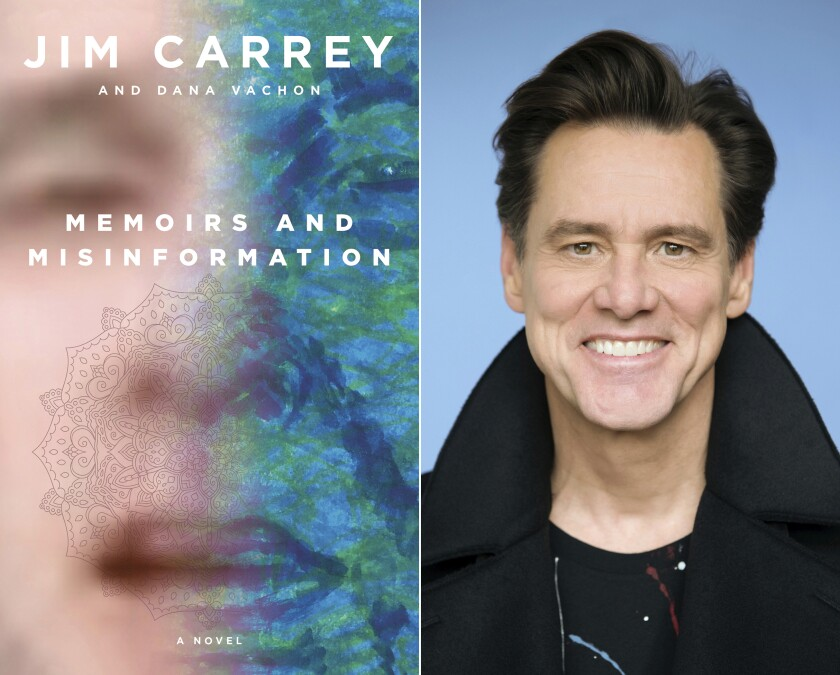 """This combination photo shows the cover of """"Memoirs and Misinformation,"""" left, and a portrait of author-actor Jim Carrey. The book is the latest reinvention of the 58-year-old star of """"Ace Ventura: Pet Detective,"""" """"The Mask,"""" """"Eternal Sunshine of the Spotless Mind"""" and """"The Truman Show."""" After veering into painting and political cartoons, it's Carrey's debut novel. (Knopf, left, Austin Hargrave/Paramount via AP)"""