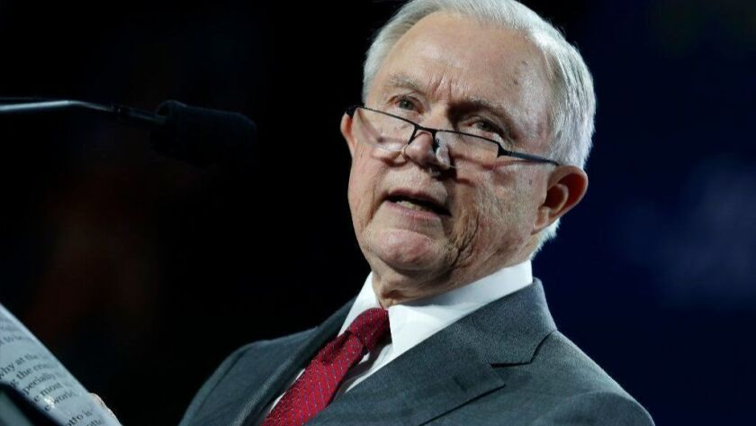 Atty. Gen. Jeff Sessions speaks at the Western Conservative Summit in Denver in June.