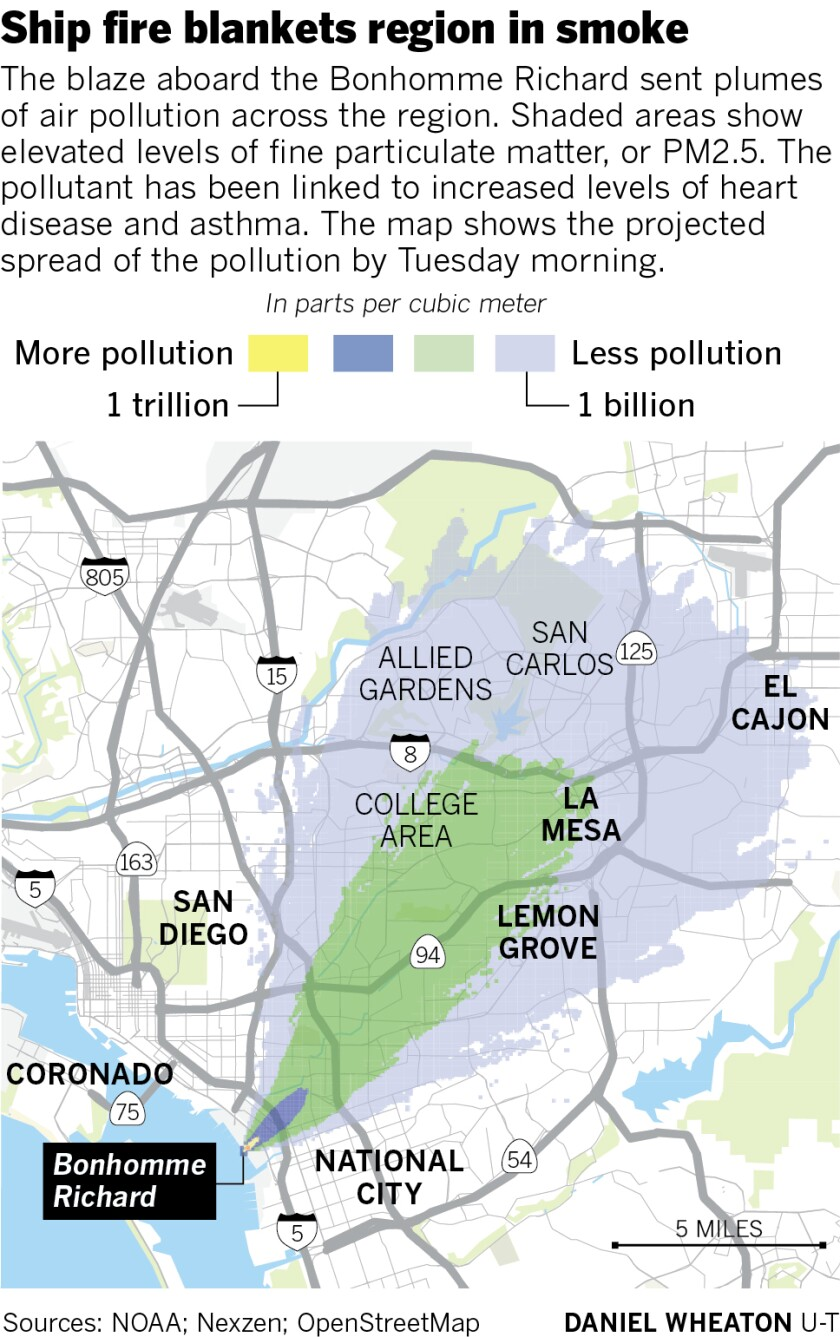 Map showing a NOAA model of where the pollution is going