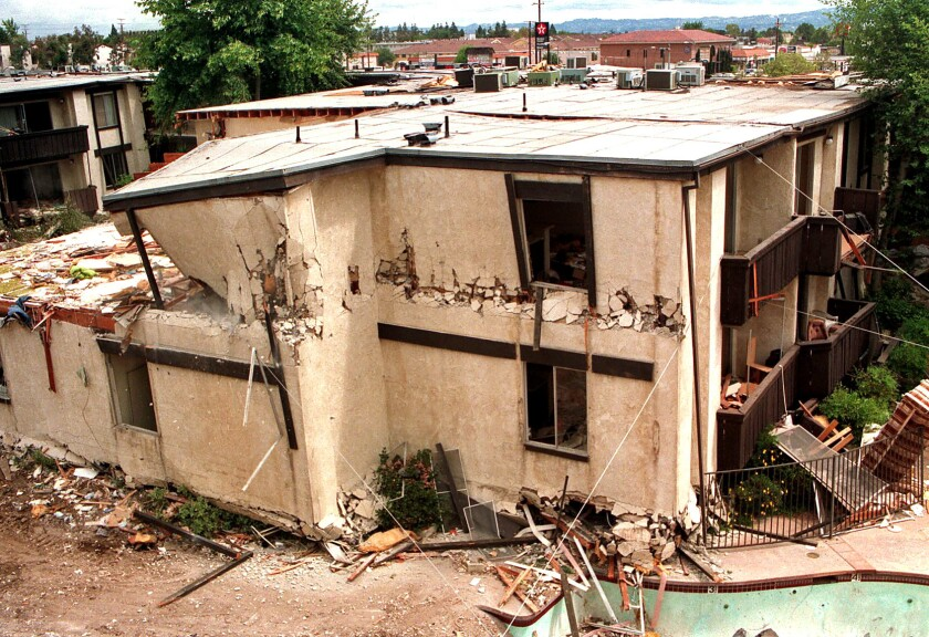 A section of the damaged Northridge Meadows apartment complex after the 1994 earthquake.