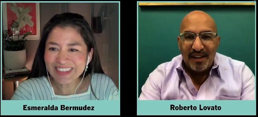 Times staff writer Esmeralda Bermudez and author Roberto Lovato
