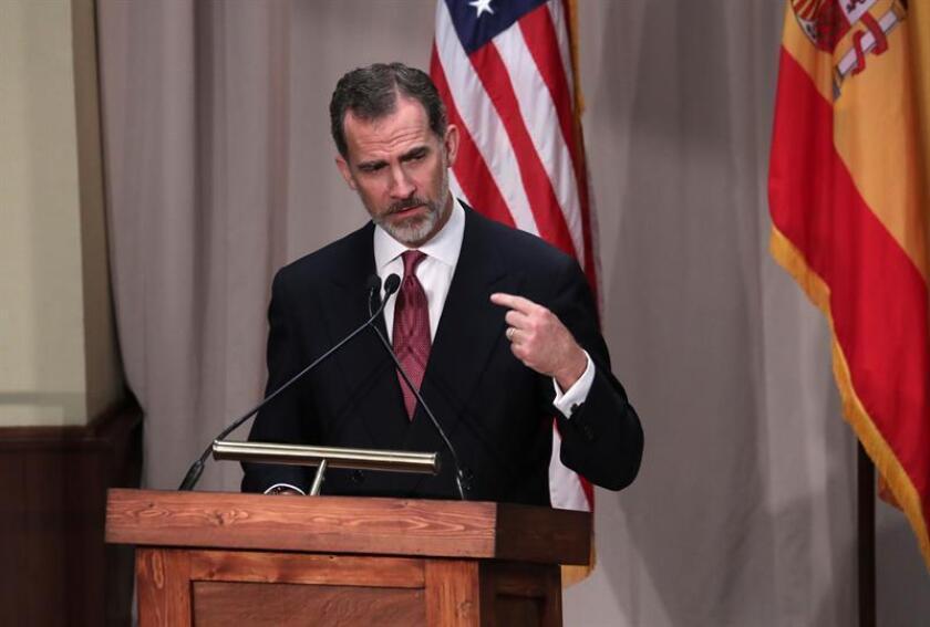 El rey Felipe VI pronuncia un discurso durante una cena oficial en San Antonio, Texas (EE.UU.). EFE
