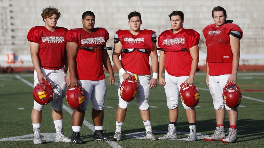 Cathedral Catholic offensive linemen Logan Berzins, Ross Maseuli, Trenton Quick, Chase Lindgren and Holden Brosnan average 6-feet-3 1/2 and 290 pounds.