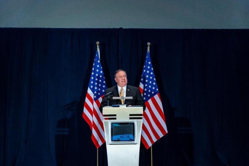 El secretario de Estado de EE.UU., Mike Pompeo, da una rueda de prensa. EFE/Archivo