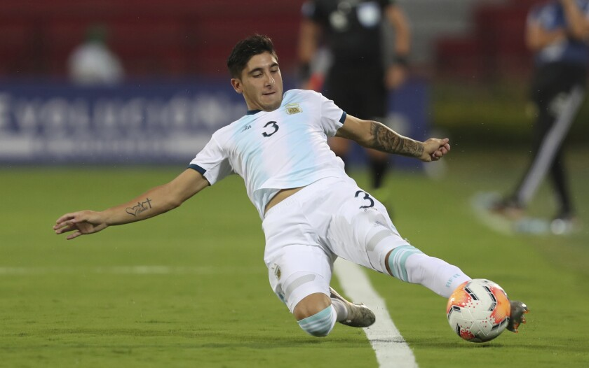 FILE - Argentina's Claudio Bravo controls the ball during a South America Olympic qualifying U23 soccer match against Uruguay at the Alfonso Lopez stadium in Bucaramanga, Colombia, in this Monday, Feb. 3, 2020, file photo. The Portland Timbers didn't need to tweak much after finishing third in the Western Conference a season ago, but the addition of Argentinian defender Claudio Bravo is a major upgrade.(AP Photo/Fernando Vergara, File)