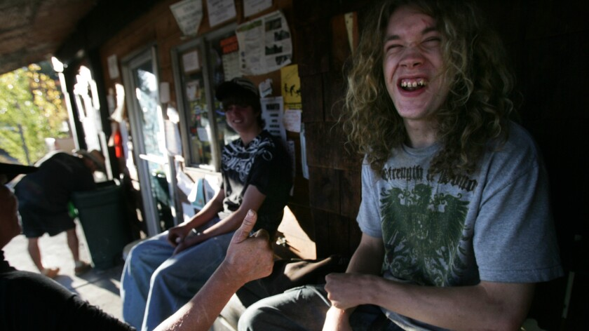 A homeless youth looks for work as a marijuana cutter in Trinity County, Calif.
