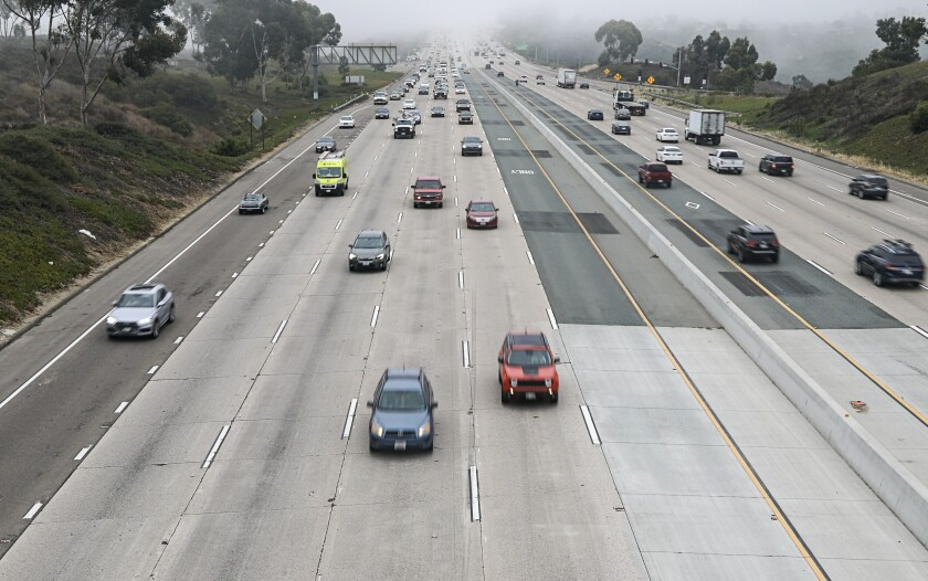 Commuters travel during morning commute hours on northbound Interstate 805.