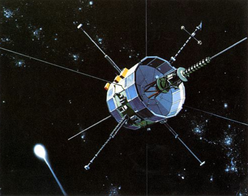 Engineers began their attempt to return the ISEE-3 satellite, shown in an artist's rendering, to Earth orbit Tuesday by initiating a series of propulsive bursts intended to alter the spacecraft's trajectory.