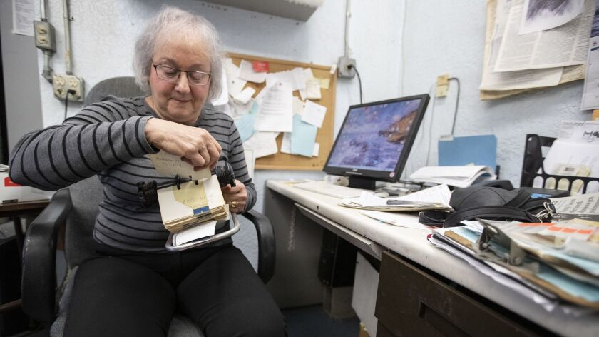 WEST HOLLYWOOD, CALIF. -- MONDAY, JANUARY 28, 2019: Karen Mason looks through cards in her Rolodex