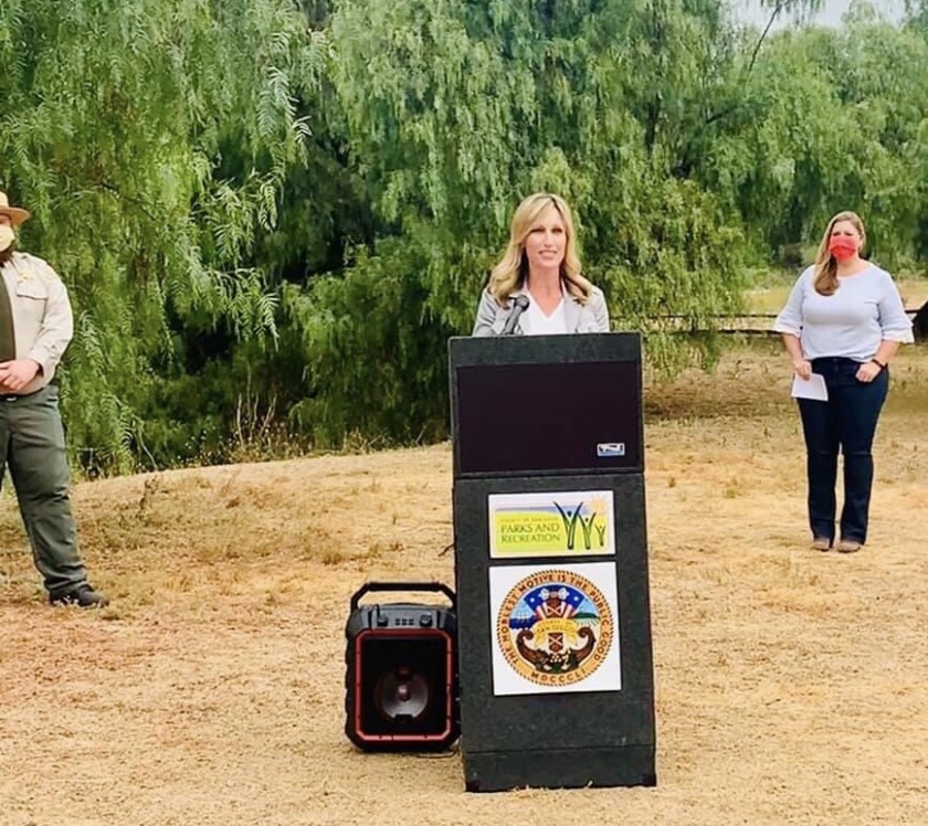 "Supervisor Kristin Gaspar helped launch the ""Tour Our Trails"" challenge at Los Penasquitos Canyon Preserve."