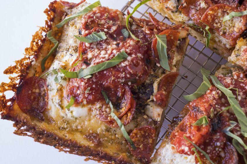 A square-slice pepperoni pizza from Apollonia's Pizzeria.