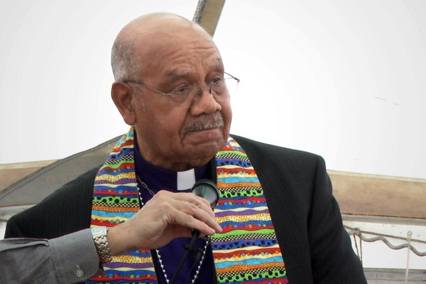 Retired Bishop Melvin Talbert urges United Methodists to perform same-sex marriages in a speech outside the denomination's convention in Tampa, Florida. Photo credit: Adi