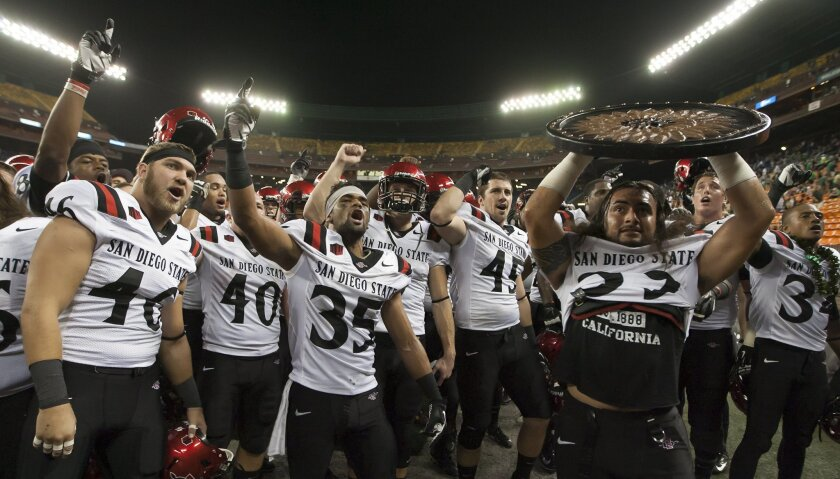 The San Diego State football team sings their alma mater after defeating Hawaii in overtime.