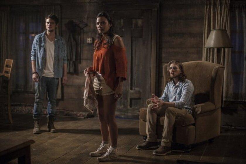 "Shiloh Fernandez, Jessica Lucas and Lou Taylor Pucci in ""Evil Dead."""