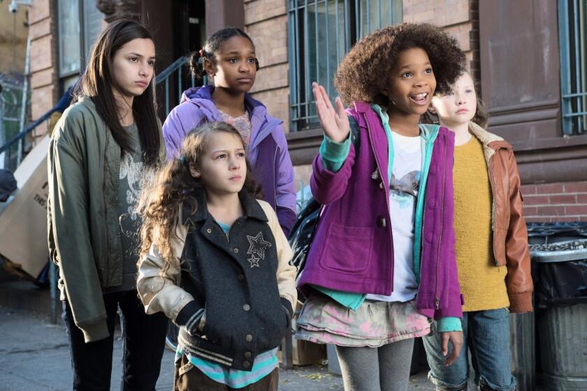"Amanda Troya, Nicolette Pierini, Eden Duncan-Smith, Quvenzhane Wallis and Zoe Margaret Colletti in ""Annie."""