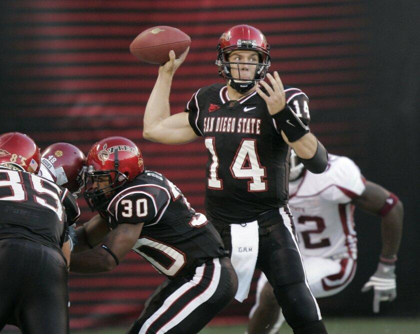 Aztecs quarterback Ryan Lindley and his teammates will host Nicholls State on Saturday in the season opener. (Charlie Neuman / Union-Tribune)