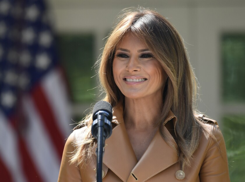 In this May 7, 2018 photo, First lady Melania Trump speaks on her initiatives during an event in the Rose Garden of the White House in Washington.