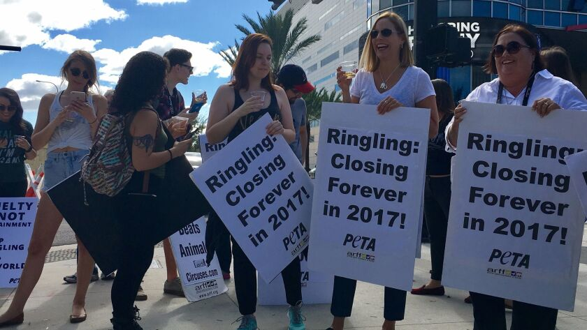 Protesters outside the Amway Center in Orlando, Fla., celebrate with sparkling cider the Ringling Bros. announcement that it would end its circus tours in May.