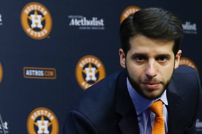 Brandon Taubman attends a Houston Astros news conference.