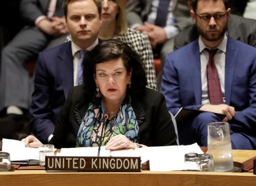 La embajadora británica ante Naciones Unidas, Karen Pierce, dijo a los periodistas que espera que la sesión se celebre este jueves. EFE/EPA/Archivo