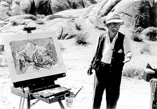 Henry Fukuhara performs a painting demonstration at Manzanar, a detention camp where he and thousands of other Japanese Americans were interned during World War II.