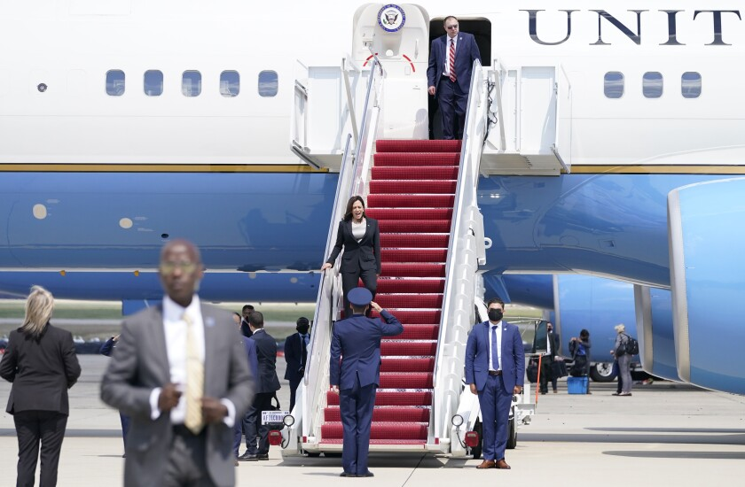 Vice President Kamala Harris deplanes Air Force Two.