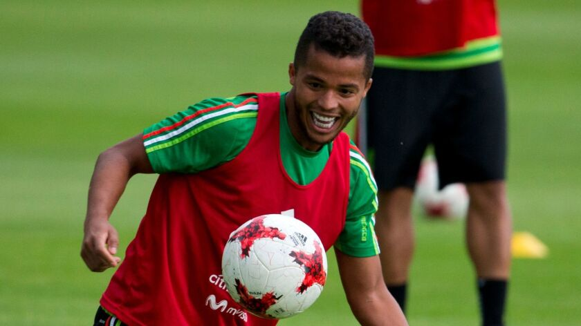 Giovani dos Santos at a training session of Mexico's national soccer team on June 7 in Mexico City.