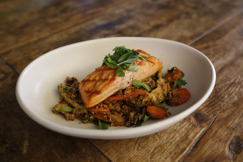 True Food Kitchen's sustainable steelhead will give you all the fuel you'll need to power shop.