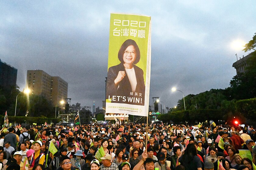 Supporters of Taiwan's independence-leaning President Tsai Ing-wen hold a rally in Taipei on Friday.