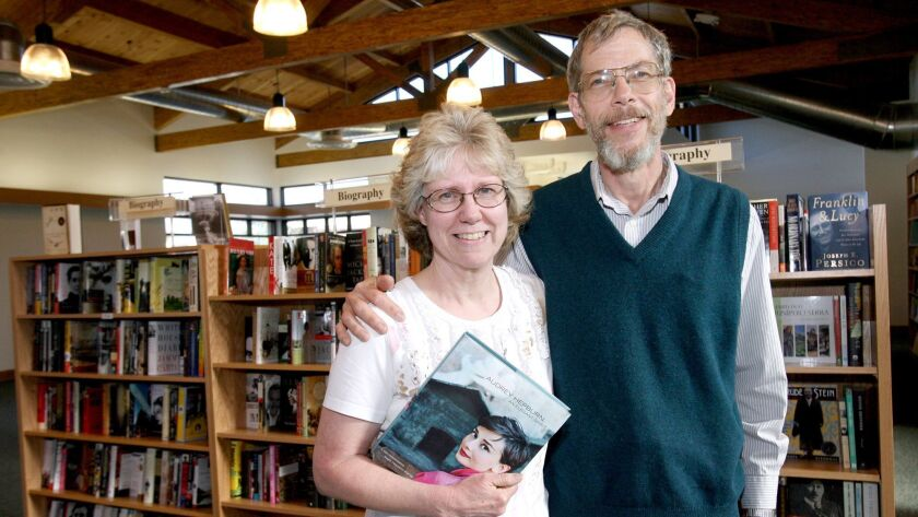 Flintridge Bookstore owners Peter and Lenora Wannier at their new building on Foothill Blvd. at Chev