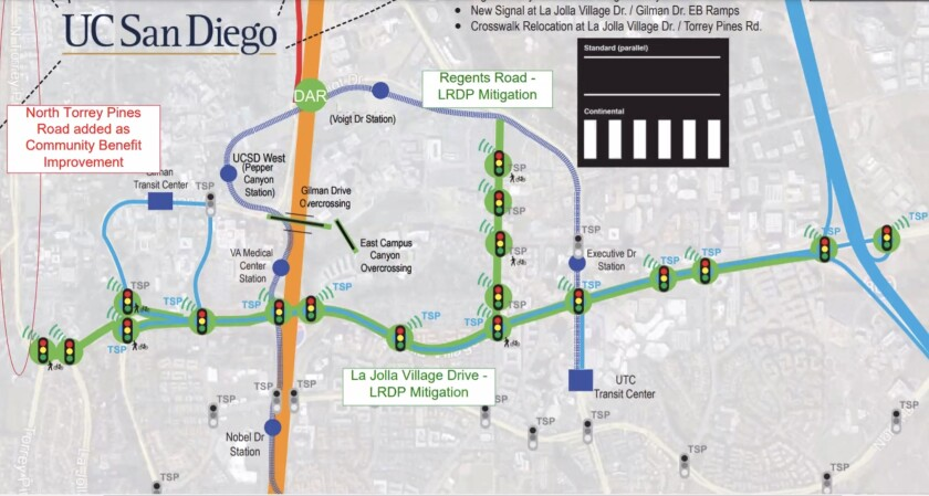 UC San Diego has plans for adaptive traffic signals at 26 intersections, to be installed in three phases.