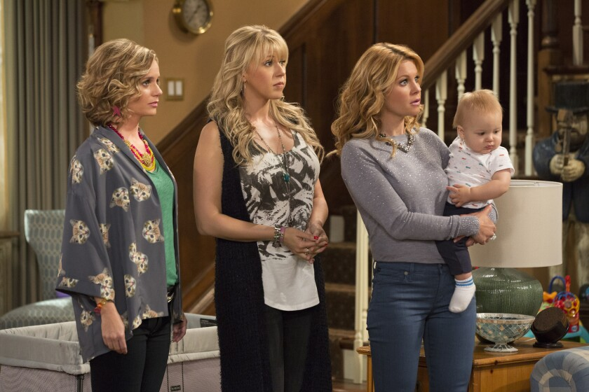 """Andrea Barber, left, Jodie Sweetin and Candace Cameron Bure are back in """"Fuller House,"""" streaming on Netflix beginning Friday."""