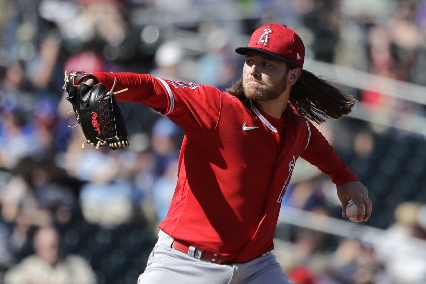 Left-hander Dillon Peters pitches in the Angels' 4-3 split-squad loss to the Royals on March 6, 2020, in Surprise, Ariz.
