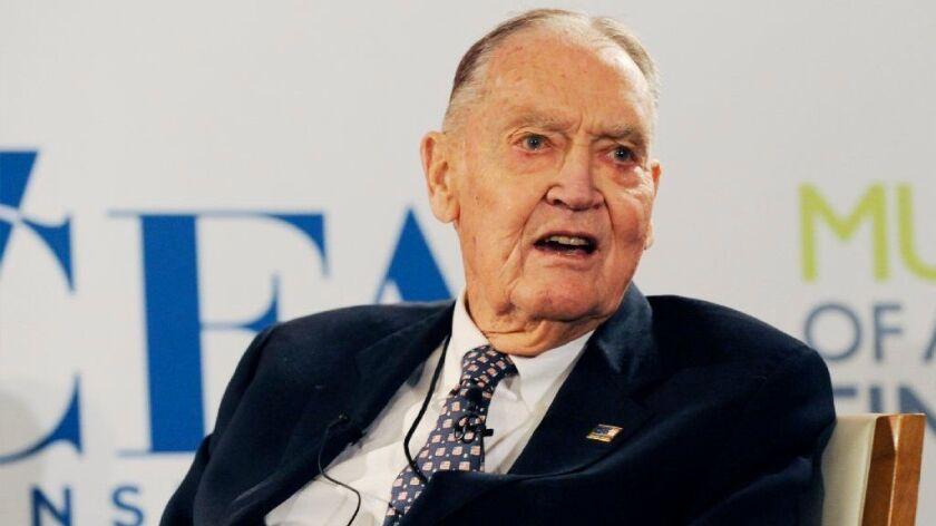 Vanguard founder Jack Bogle speaks at the John C. Bogle Legacy Forum in New York in January 2012. He died Jan. 16, 2019, at age 89.